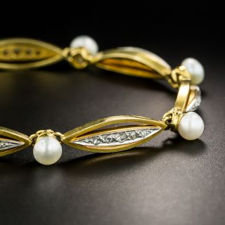 Vintage Diamond and Natural Pearl Bracelet, Circa 1900 - 2
