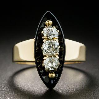 Vintage Diamond and Onyx Navette Ring - 2