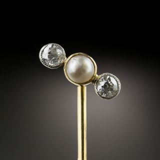 Vintage Diamond and Pearl Pin - 2