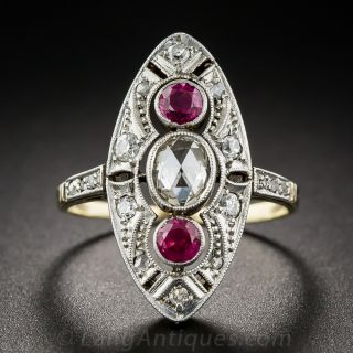 Vintage Diamond and Ruby Dinner Ring