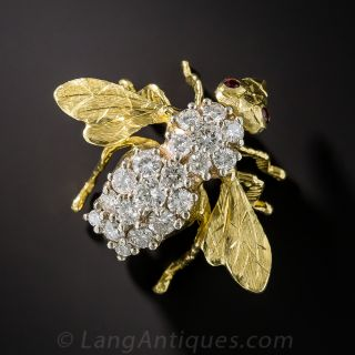 Vintage Diamond Bee Pin - 1