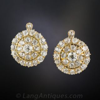 Vintage Diamond Cluster Earrings, Circa 1900 - 3
