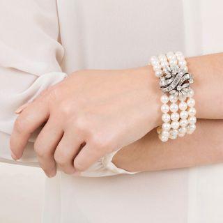 Vintage Diamond, Cultured Pearl & Platinum Bracelet