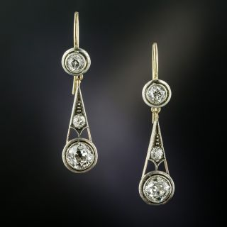 Vintage Diamond Dangle Earrings - 6