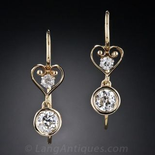 Vintage Diamond Heart Motif Drop Earrings - 1