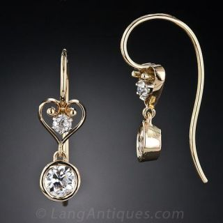 Vintage Diamond Heart Motif Drop Earrings