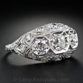 Vintage Diamond Three-Stone Engagement Ring