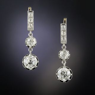 Vintage Double Diamond Dangle Earrings - GIA I VS1 & J VS2 - 1