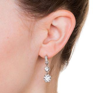 Vintage Double Diamond Dangle Earrings - GIA I VS1 & J VS2