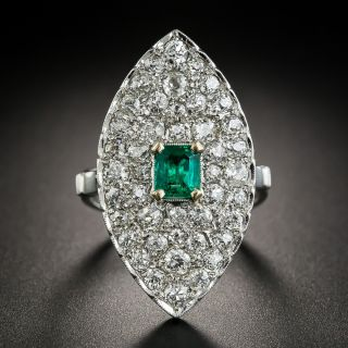 Vintage Emerald and Diamond Dinner Ring