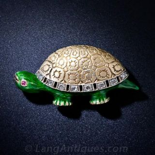 Vintage Enamel and Diamond Turtle Pin - 1