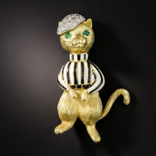 Vintage Enameled Cat Jockey Brooch - 2