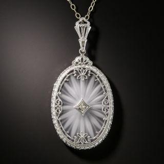 Vintage Filigree Quartz Crystal Diamond Pendant - 2
