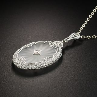 Vintage Filigree Quartz Crystal Diamond Pendant
