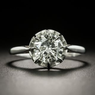 Vintage French 1.26 Carat Diamond Solitaire Engagement Ring - GIA K I1 - 3