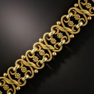 Vintage French Floral Motif Gold Bracelet - 2
