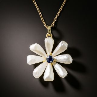 Vintage Freshwater Pearl and Sapphire Flower Pendant Necklace - 3