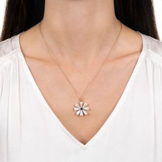 Vintage Freshwater Pearl and Sapphire Flower Pendant Necklace