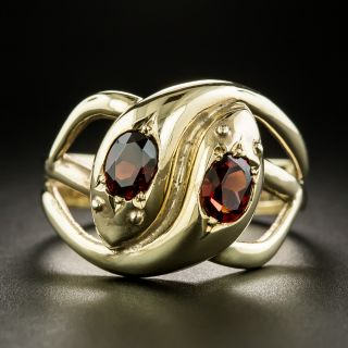 Vintage Garnet Double Snake Ring - 1