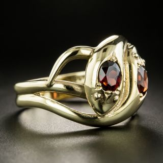 Vintage Garnet Double Snake Ring