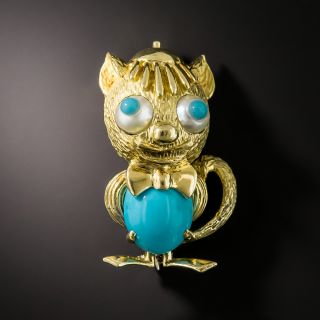 Vintage Goofy Turquoise Cat Brooch - 1
