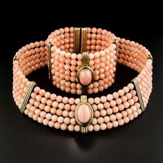 Vintage Italian Coral Bead Spring Choker and Bracelet - 4