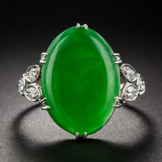 Vintage Jade Platinum Diamond Ring