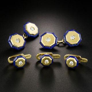 Vintage Lapis Lazuli and Diamond Cufflink and Stud Set, Signed Weingrill - 2
