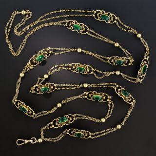Vintage Long Chrysoprase Gold Chain