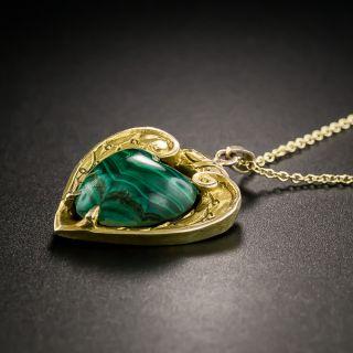 Vintage Malachite Heart Pendant