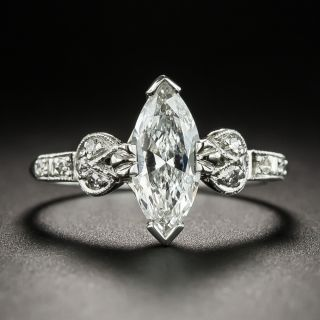 Vintage MarquiseDiamond Platinum Engagement Ring - GIA 1.00 Ct F VS2 - 2