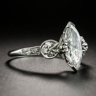 Vintage 1.00 Carat MarquiseDiamond Engagement Ring - GIA F VS2