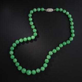 Vintage Natural Burmese Jade Bead Strand With Diamond Clasp - 2