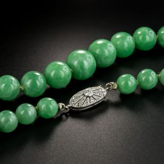 Vintage Natural Burmese Jade Bead Strand With Diamond Clasp