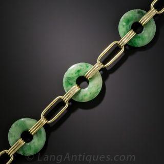 Vintage Natural Burmese Jadeite Bi Bracelet