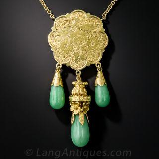 Vintage Natural Burmese Three Jade Necklace  - 4