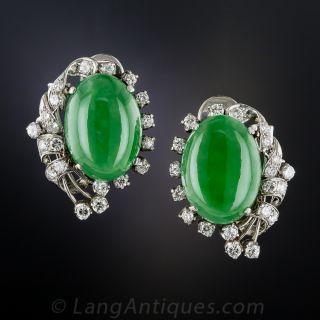Vintage Natural Jade and Diamond Clip Earrings - 2