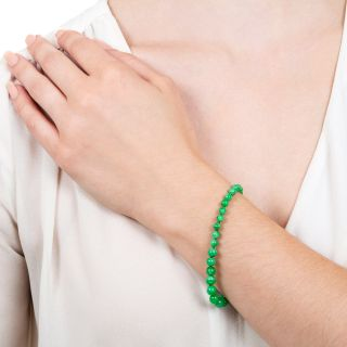 Vintage Natural Jade Bead Bracelet