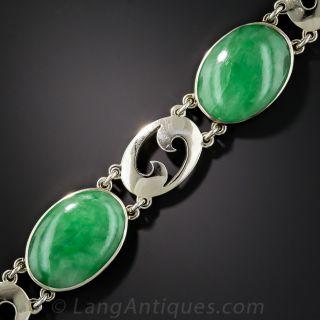 Vintage Natural Jadeite and White Gold Bracelet - 1