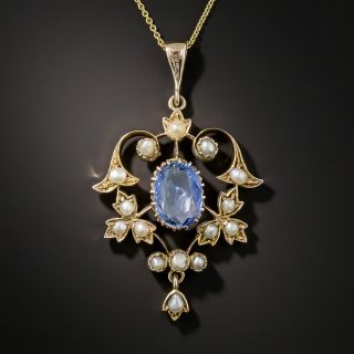 Vintage No-Heat Ceylon Sapphire and Pearl Pendant Necklace