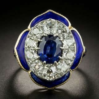 Vintage No Heat Sapphire and Diamond Enamel Ring - 2
