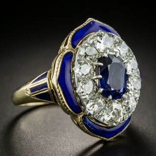 Mid-Century No Heat Sapphire and Diamond Enamel Ring