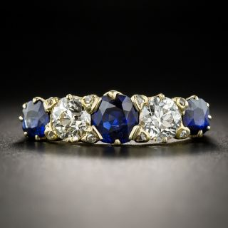 Vintage No Heat Sapphire Diamond Five-Stone Ring - Size 8 1/2 - 1