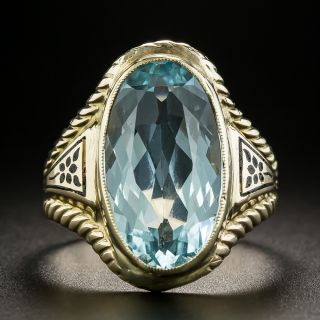 Vintage Oval-Cut Aquamarine and Enamel Ring - 2