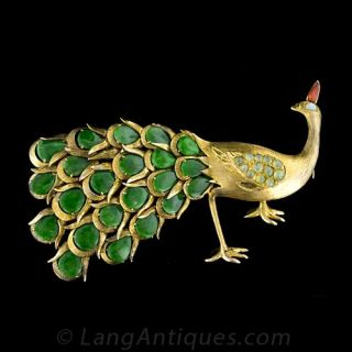 Vintage Peacock Pin - 1