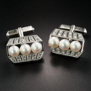 Vintage Pearl and Diamond Cufflinks by Mikimoto - 2