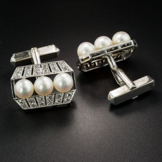Vintage Pearl and Diamond Cufflinks by Mikimoto