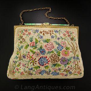 Vintage Petit Point and Jade Handbag