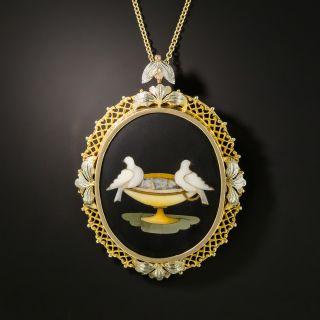 Vintage Pietra Dura Pendant and Brooch  - 2