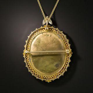 Vintage Pietra Dura Pendant and Brooch